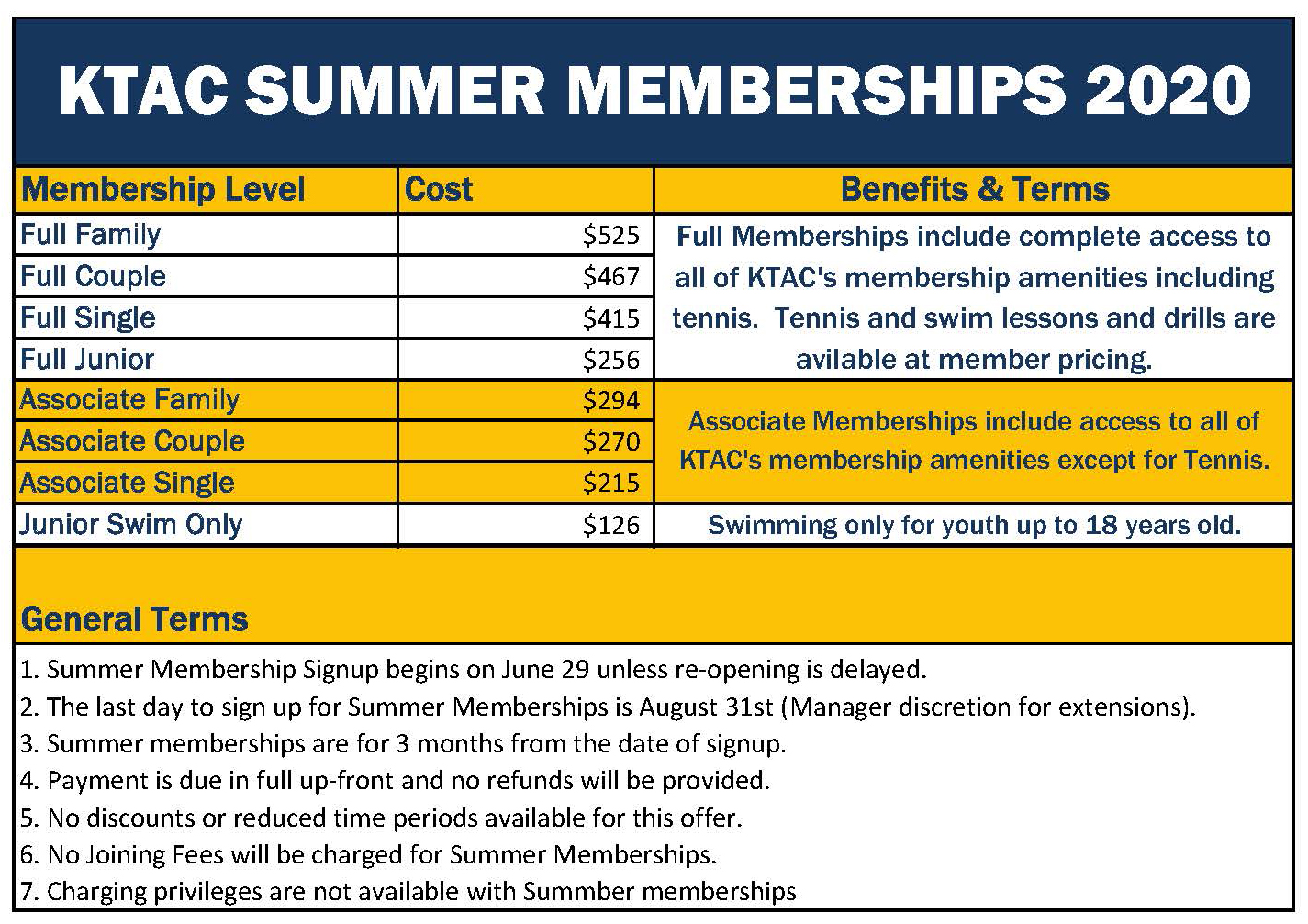 KTAC Summer Memberships