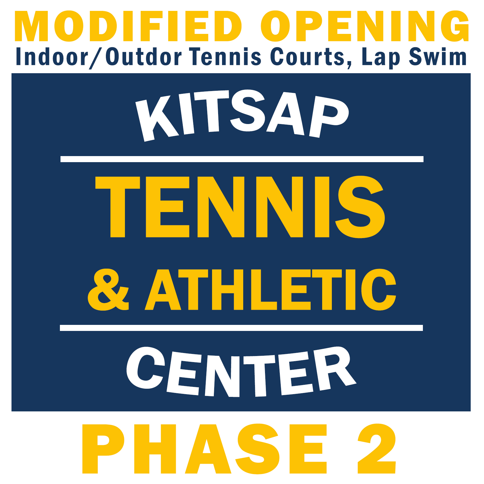 Kitsap Tennis and Athletic Center Modified Opening Phase 2