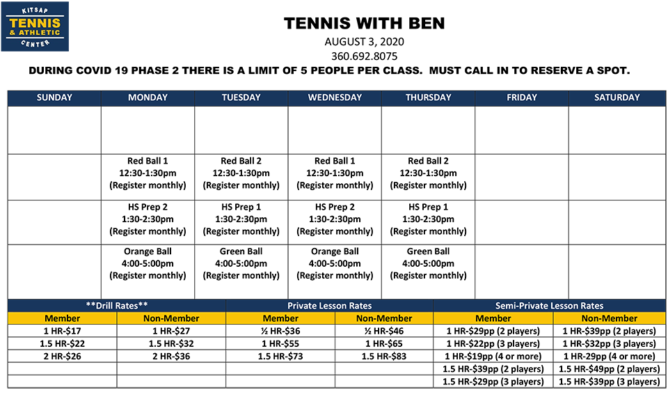 Junior Tennis Classes with Ben
