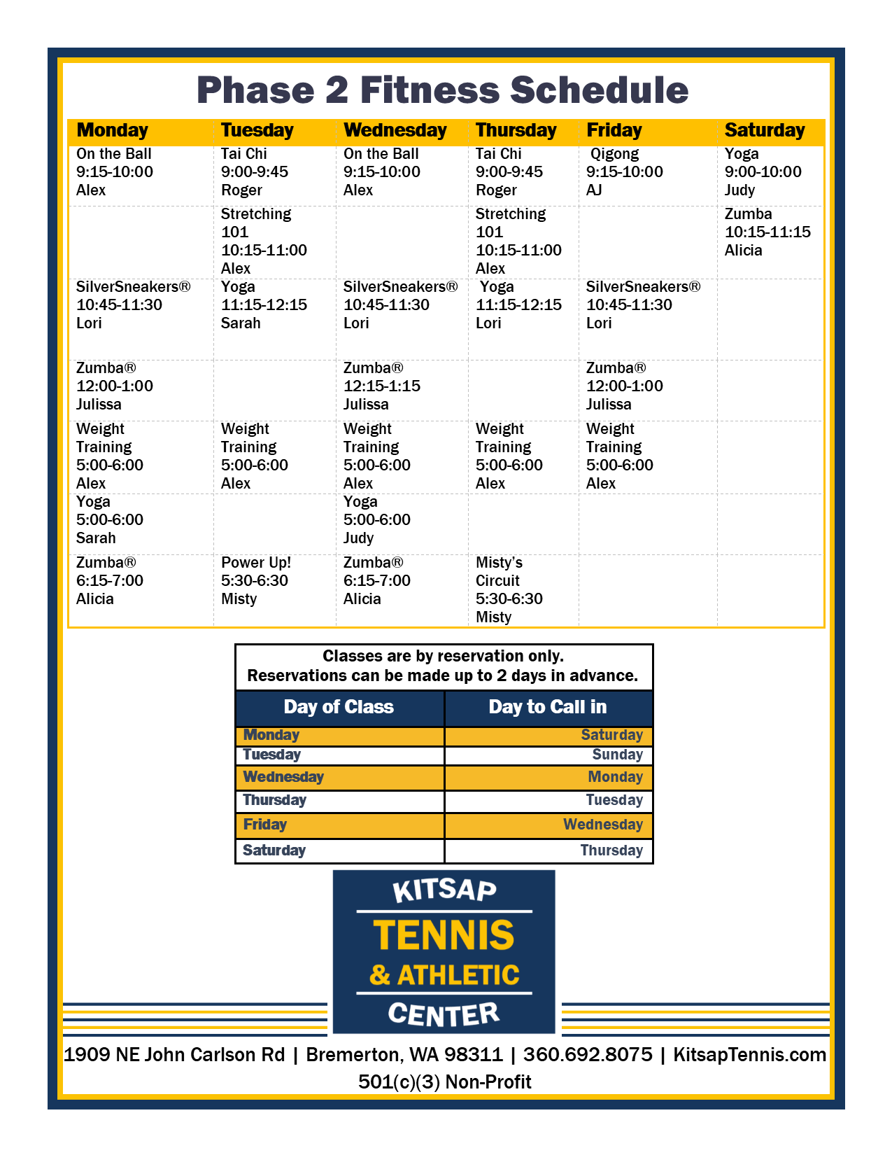 Kitsap Tennis Phase 2 Fitness Schedule