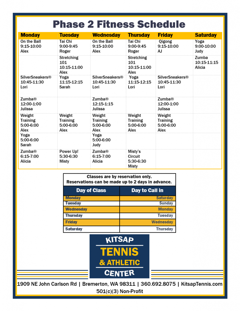 Kitsap Tennis Phase 2 Fitness Schedule